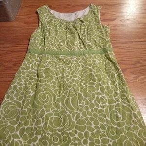 Beautiful green and white boden dress, size US10R
